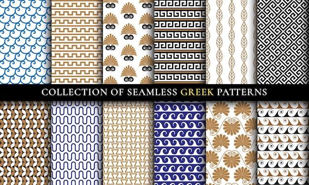 Wektor bezszwowe greckie wzory kolekcji, zestaw sztuki