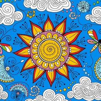 Wektor bezszwowe słoneczny kwiatowy wzór