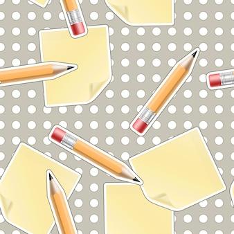 Wektor bezszwowe tło biurowe z ołówków i arkuszy
