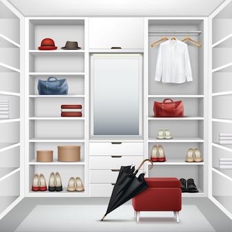 Wektor biała pusta szatnia z pudełkami, lustrem, czerwoną pufą, koszulą, czapkami, torbami, butami i widokiem z przodu czarny parasol