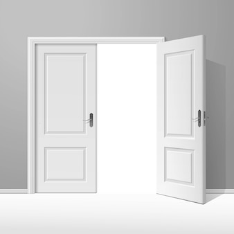 Wektor białe drzwi otwarte z ramą