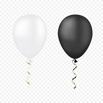 Wektor białe i czarne balony na przezroczystym
