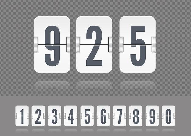 Wektor białe numery tablicy wyników unoszące się z odbiciami. tamplate dla minutnika lub kalendarza z klapką na ciemnym tle lub projektu.