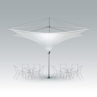 Wektor białe puste odwrócone lotus patio outdoor beach cafe bar pub lounge restauracja