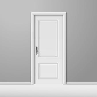 Wektor białe zamknięte drzwi z ramą