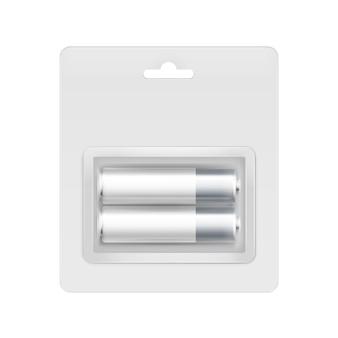 Wektor biało-szare srebrne błyszczące baterie alkaliczne aa w przezroczystym blistrze