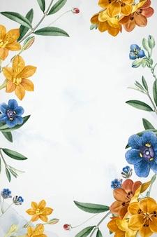 Wektor biały kwiatowy wzór ramki