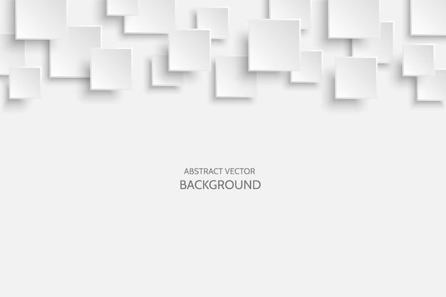 Wektor biały nowoczesny streszczenie tło z przykładowy tekst. latający wzór kwadratowy szary mat papieru z miękkimi cieniami. realistyczna ilustracja 3d.