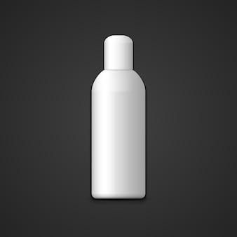 Wektor biały pusty makieta cylindryczny plastikowy kosmetyczny pionowy pakiet butelek z realistyczną ilustracją czapki z projektem szablonu cienia na białym tle na ciemnym tle