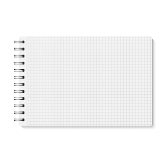 Wektor biały realistyczne zamknięte spirali związane notebooka. poziomy pusty zeszyt z metaliczną srebrną spiralą. szablon organizatora lub pamiętnik na białym tle. notatnik wyściełany komórkami. a5