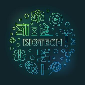 Wektor biotech kolorowy okrągły ilustracja kontur