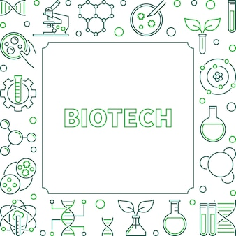 Wektor biotechnologia koncepcja kwadratowa ramka konspektu