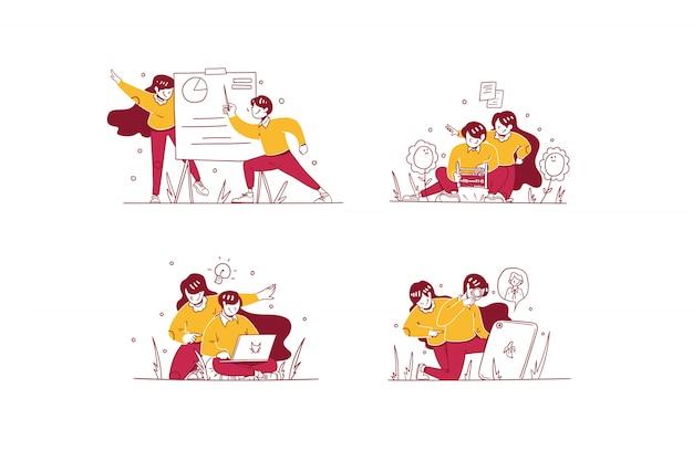 Wektor biznes i finanse ilustracja ręcznie rysowane stylu, mężczyzna i kobieta robi prezentację, kalkuluje z liczydła, ma pomysł i zatrudnia pracowników