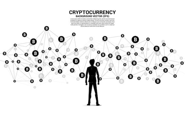 Wektor biznesmen i ikona bitcoin z linii wielokąta dot połączyć.