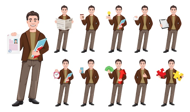 Wektor biznesmen postać z kreskówki w stylu płaski, zestaw jedenastu pozach. młody przystojny biznesowy mężczyzna. ilustracja wektorowa