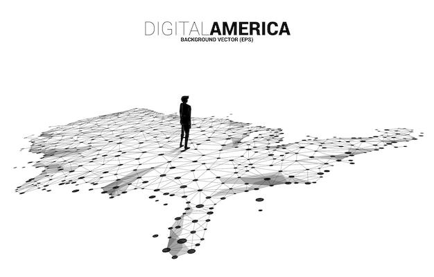 Wektor biznesmen stojący na mapie stanów zjednoczonych z linii wielokąta dot połączyć z tłem miasta. koncepcja połączenia sieci cyfrowej ameryki.