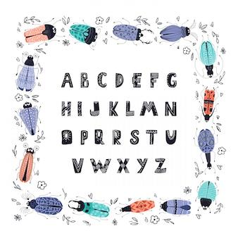 Wektor błędy kreskówka lub chrząszcze, kwadratowa ramka, alfabet