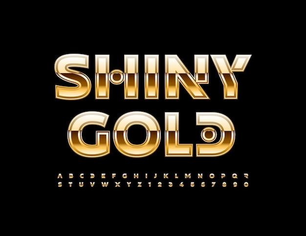 Wektor błyszczący złoty alfabet zestaw kreatywny luksusowy styl czcionki premium litery i cyfry