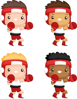 Wektor bokserek w różnych odcieniach skóry