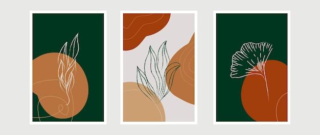 Wektor botaniczna sztuka ścienna ustawić ton ziemi boho