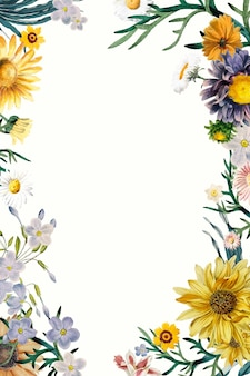 Wektor botaniczny rocznika kwiat rama