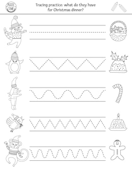 Wektor boże narodzenie arkusz praktyki pisma. zimowa czarno-biała aktywność do druku dla dzieci w wieku przedszkolnym. edukacyjna gra polegająca na śledzeniu umiejętności pisania z postaciami noworocznymi i jedzeniem