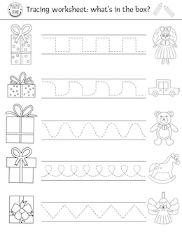 Wektor boże narodzenie arkusz praktyki pisma. zimowa czarno-biała aktywność do druku dla dzieci w wieku przedszkolnym. edukacyjna gra śledząca do umiejętności pisania z prezentami noworocznymi