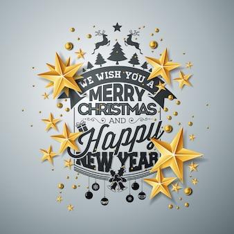 Wektor boże narodzenie i nowy rok ilustracja z typografii i wycinanka papieru gwiazd na czyste tło. projekt wakacje na kartkę z życzeniami, plakat, baner.