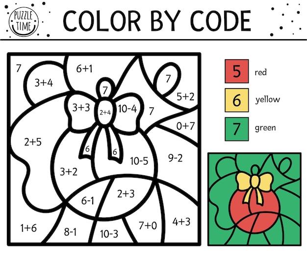 Wektor boże narodzenie kolor według liczby aktywności z kolorową piłką. prosta gra kolorowania i liczenia ferii zimowych z uroczym zwierzakiem. zabawny arkusz kolorowania według kodu z matematyką dla dzieci.