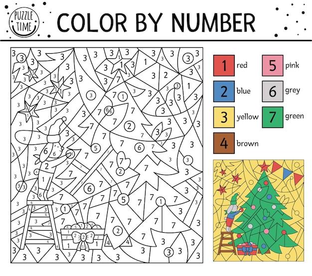 Wektor boże narodzenie kolor według liczby aktywności z królikiem dekorowanie jodły. zimowe wakacje kolorowanie i liczenie gra z uroczym zwierzakiem. zabawna strona kolorowania nowego roku dla dzieci.