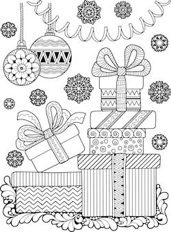 Wektor boże narodzenie kolorowanka dla dorosłych. fantazja doodle zima projekt na białym tle