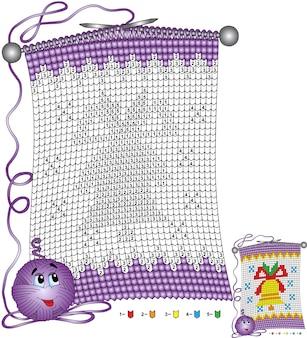 Wektor boże narodzenie kolorowanki. zadania dla dzieci kolorowane według numerów w postaci dzianinowego szalika z wizerunkiem świątecznego dzwonka