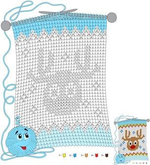 Wektor boże narodzenie kolorowanki. zadania dla dzieci koloruj według numerów w kształcie dzianinowego szalika z wizerunkiem jelenia
