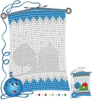 Wektor boże narodzenie kolorowanki. zadania dla dzieci koloruj według numerów w postaci dzianinowego szalika z wizerunkiem zaśnieżonego domu