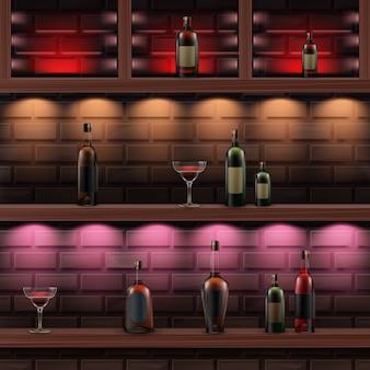 Wektor brązowe drewniane półki z czerwonym, pomarańczowym, różowym podświetleniem i szklane butelki alkoholu na białym tle na ciemny mur z cegły