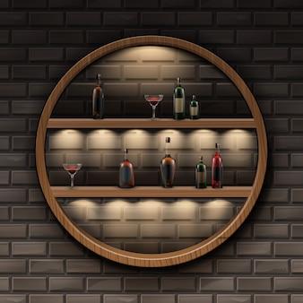 Wektor brązowe okrągłe drewniane półki z podświetleniem i szklane butelki alkoholu na białym tle na ciemny mur z cegły