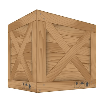 Wektor brown drewniany pudełko na bielu