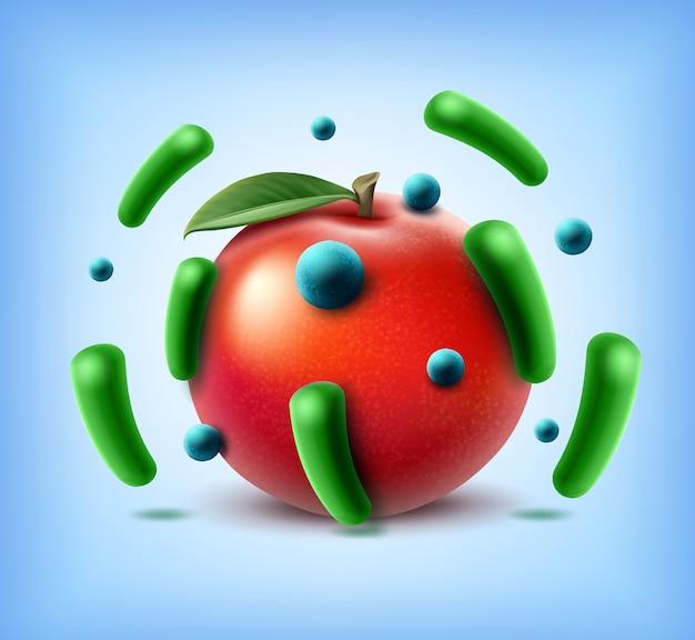 Wektor brudne jabłko pełne komórek bakterii i pałeczek niebieskich cocci