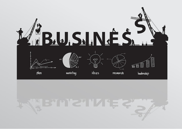 Wektor budowy żurawia budynku biznes tekst pomysł koncepcji