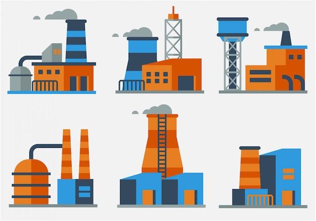 Wektor budynków przemysłowych płaska konstrukcja