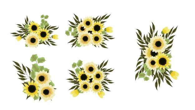 Wektor bukiety bukietów z układem słonecznika żółte kwiaty z gałęziami drzew