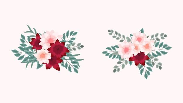 Wektor bukiety bukietów z wiosennych kwiatów z gałęziami drzew jako nowe szczegółowe elementy clipart