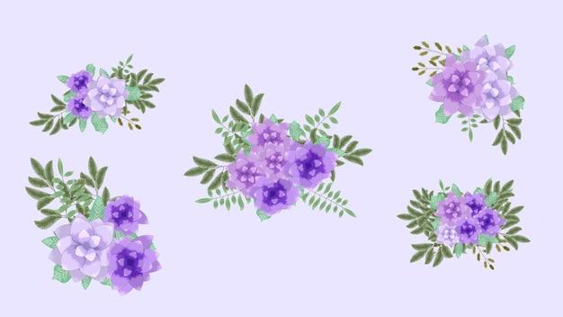 Wektor bukiety bukietów z wiosennymi kwiatami ustawia pojedyncze aranżacje jako projekt banerów