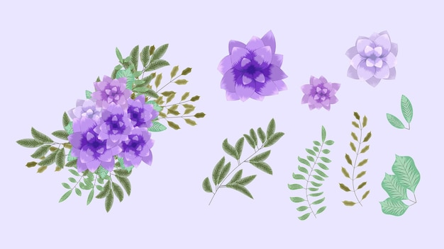 Wektor bukiety bukietów z wiosennymi kwiatami z gałęziami drzew jako nowe szczegółowe zestawy elementów clipart, pojedyncze aranżacje jako projekt banerów, pocztówek, reklam, postów w mediach społecznościowych, tekstyliów