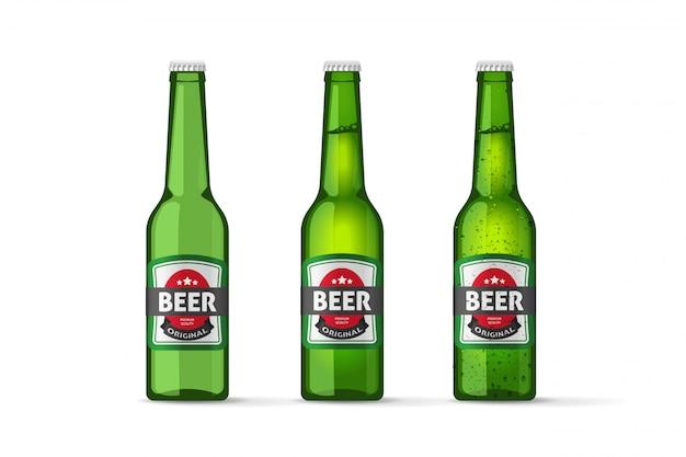 Wektor butelek piwa na białym tle