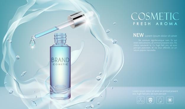 Wektor butelka surowicy kosmetyczne makiety