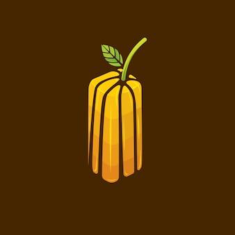 Wektor butelki soku pomarańczowego logo