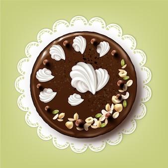 Wektor cały tort czekoladowy z polewą, bitą śmietaną i orzechami na białej koronkowej serwetce widok z góry na białym tle