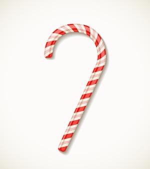 Wektor candy cane z czerwonymi paskami na białym realistycznym wektorze