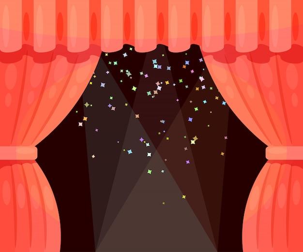 Wektor cartoon teatr z otwartą kurtyną i promieniami reflektorów, spadające gwiazdy. kolorowy teatr ilustracji